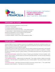 Comptes rendus des 3 ateliers Val Francilia