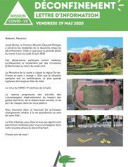 Covid 19 : Lettre d'Information Municipale – 29 mai 2020